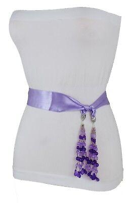 Krawatte Gürtel Mini (Damen Gewickelt Krawatte Gürtel Schärpe Seide Lavendel Hell Violett Stoff Skinny)