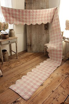 Antique French Vichy check ruffle bed quilted valance 18th early 17 FEET LONG