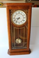 Bulova Westminster Pendulum WALL CLOCK MANTLE Oak Gold Etched Westminster Chime