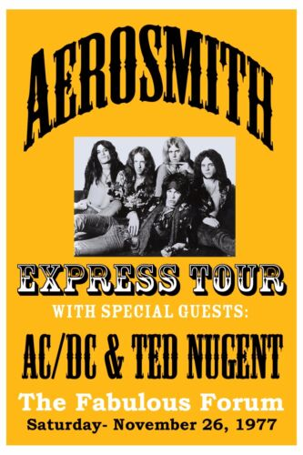 Aerosmith at the Los Angeles Forum Concert Poster 1977   12x18