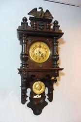 Antique Wall Clock German Old Clock Regulator in Oak Wood Vintage