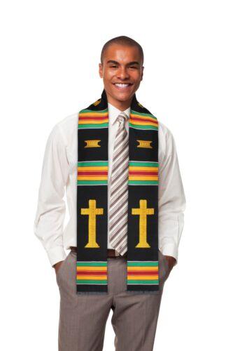 Christian Cross Premium Handwoven Kente Cloth Stole for Choir and Clergy