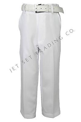 Boys White Dress Pants Flat Front Slacks with White Belt sizes 4  to 20