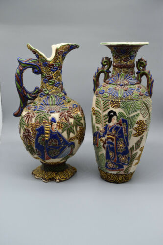 """Pair of Stunning Hand Enameled Chinese Cloisonne Vases, 13"""" T, 5-6"""" Wide"""
