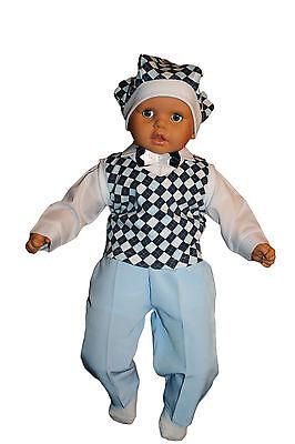 Jungenanzug Taufanzug Baby Junge Hochzeit Anzüge Festanzug, 5tlg Blau Kariert K8