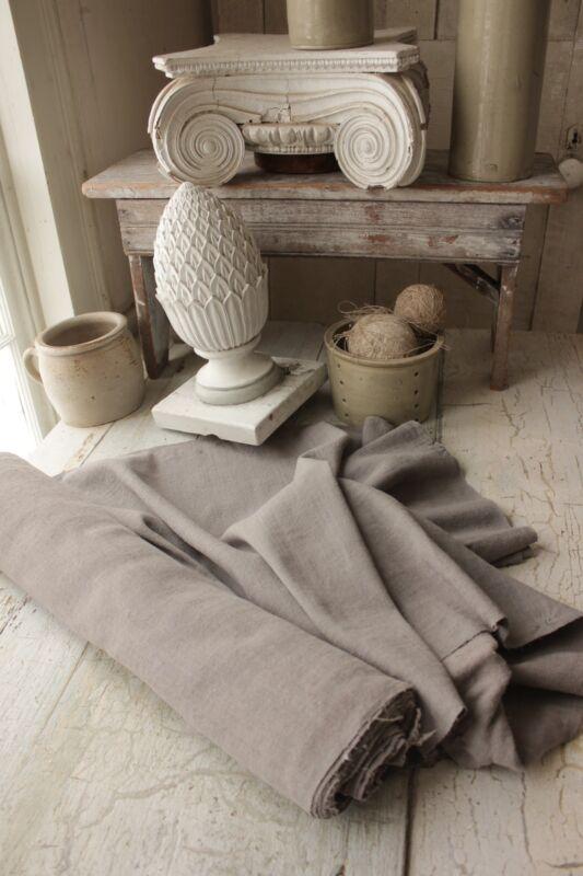 Vintage linen dyed gray blue 8.5 YDS homespun Material hemp upholstery fabric