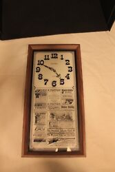 Vintage VERICHRON Wood & Glass Wall Clock Art; TESTED Keeps Time