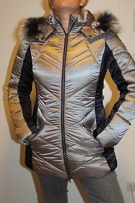 Sportalm Kitzbühel Pluma Factor Mujer Abrigo Talla 36 S Gris Negro