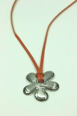 Fossil Brand Floral Pendant Necklace Leather Cord 18
