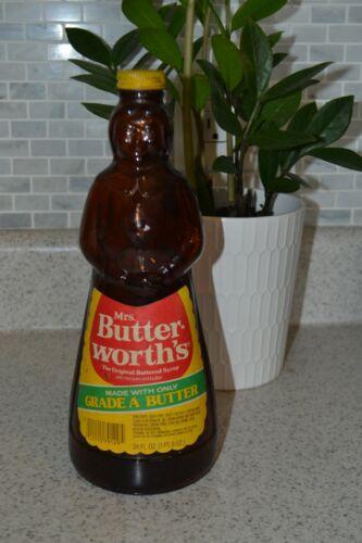 Vintage Mrs. Butter-worth's Syrup Glass Bottle w/ Metal Cap 24 oz. Kitchen Decor