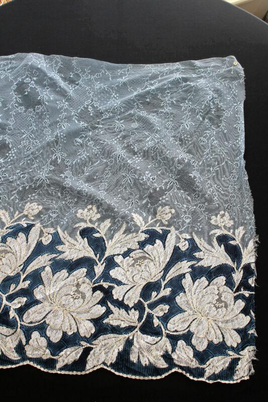 Rare Museum Quality French Edwardian Era French  Silk &  Metallic Fabric 6+ yds