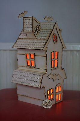 Laser cut ply wood wooden Halloween Haunted house bat model 3d puzzle /