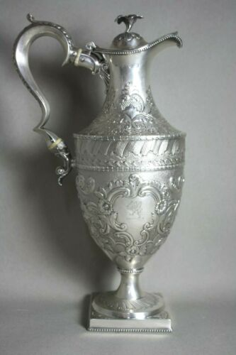 Antique Victorian Sterling Silver Claret Jug Wine Pitcher Exquisite Chase Design