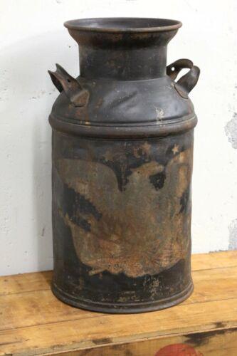 """Vintage Steel Milk Can Antique Dairy Farm Primitive Patriotic Eagle black 20"""""""