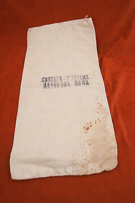 Crocker Citizens National Bank Canvas Bank Deposit Money Bag (A2L-9) Rust Stains