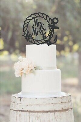 Anchor Cake Topper (Wedding,Anniversary,Cake Topper, Nautical, Anchor, Rope Wreath Mr and)