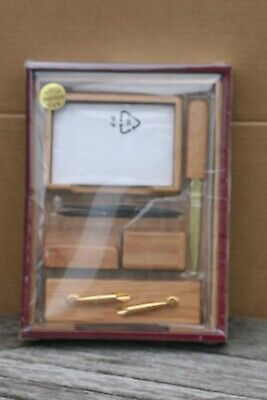 Vintage  7 Pieces Solid American Oak  Desk Set New Sealed Made in Taiwan for sale  Shipping to Ireland