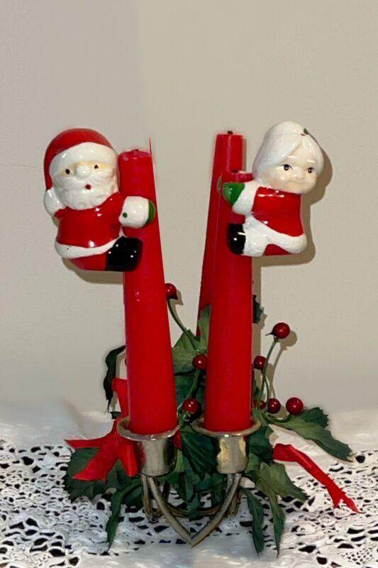 Vintage Mr Mrs Santa Claus Candle Huggers Climbers Ceramic Christmas Holiday