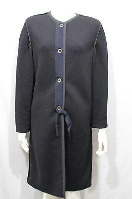 Lanvin Paris Women Black Long Coat Wool Classic Jacket Boat Neck US 10 Italy 44