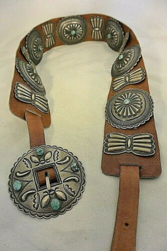 """17ozt Gem Turquoise HARRY MORGAN Navajo CONCHO BELT buckle Sterling Silver """"NOS"""""""