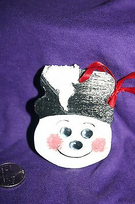 Vintage Christmas Wood Tole Painted  Christmas snowman