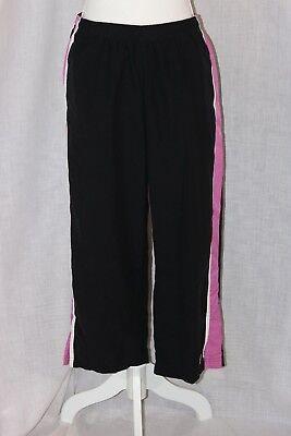 (NIKE Black Pink Polyester Drawstring Elastic Waistband Sweat Pants Size Large)