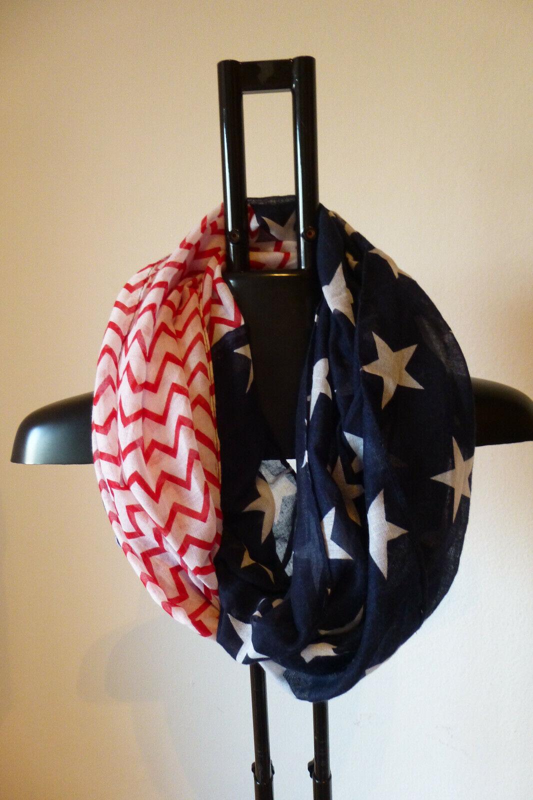 Damen Loop Schal USA Muster Sommer wie NEU