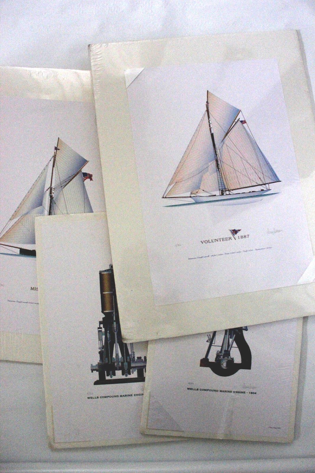 America Cup Nautical Lithograph Art Sailing Ship Remy Champt Original Signed  - $45.00