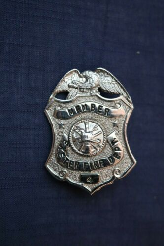 VINTAGE OBSOLETE Exeter Fire Department Badge Pin - Silver Tone