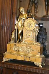 ANTIQUE FRENCH MARBLE GILDED FIGURAL BRONZE MANTEL CLOCK, C.1880, STUNNING