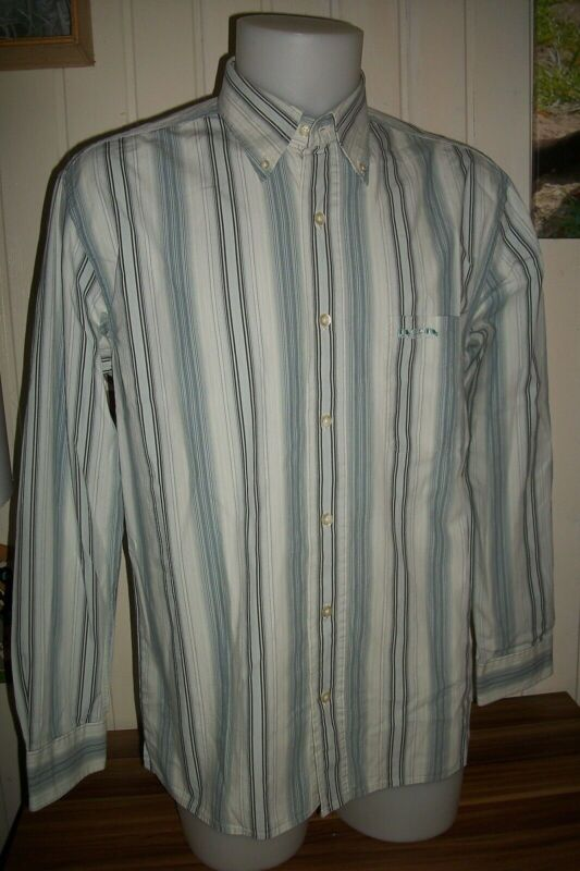 Chemise manche longue coton rayé blanc/gris/bleu  mise au green l /42