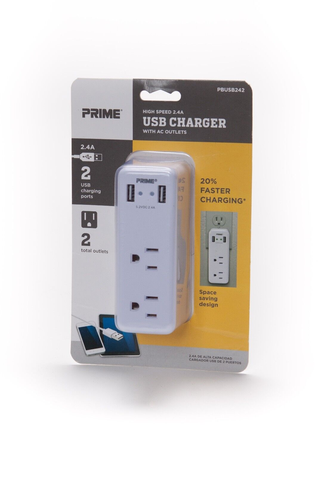 PRIME USB CHARGER High Speed 2.4A with AC Outlets part# pbus