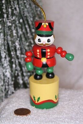 Vintage wood Push toy Christmas ornament  Soldier