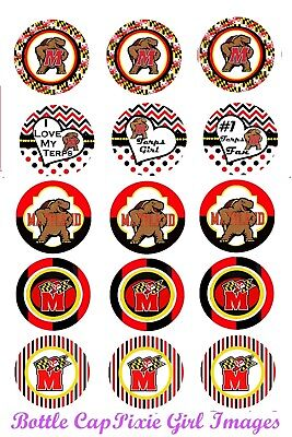 U of MD Terrapins College football 30 Precut Bottle Cap Images Cup Cake Toppers