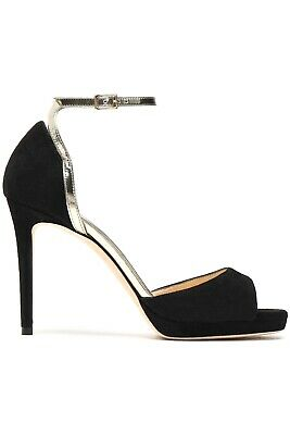 Jimmy Choo Pearl Metallic Leather Trimmed Suede Sandals Size EU 39 Stiletto