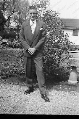 1950s Mens Suits & Sport Coats   50s Suits & Blazers 1950s casual portrait of handsome man in suit Vtg  2