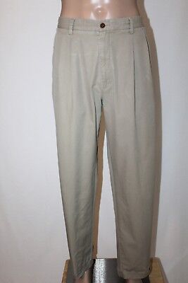 NAUTICA Rigger Men's 36 x 32 Khaki Classic Fit Pleated & Cuffed Pants Chinos