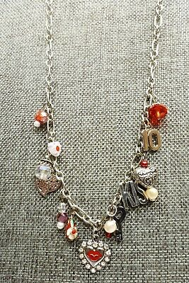 A55) Charm Necklace, 10, Kiss, XOXO, & Heart Charms, Crystal, & Freshwater Pearl