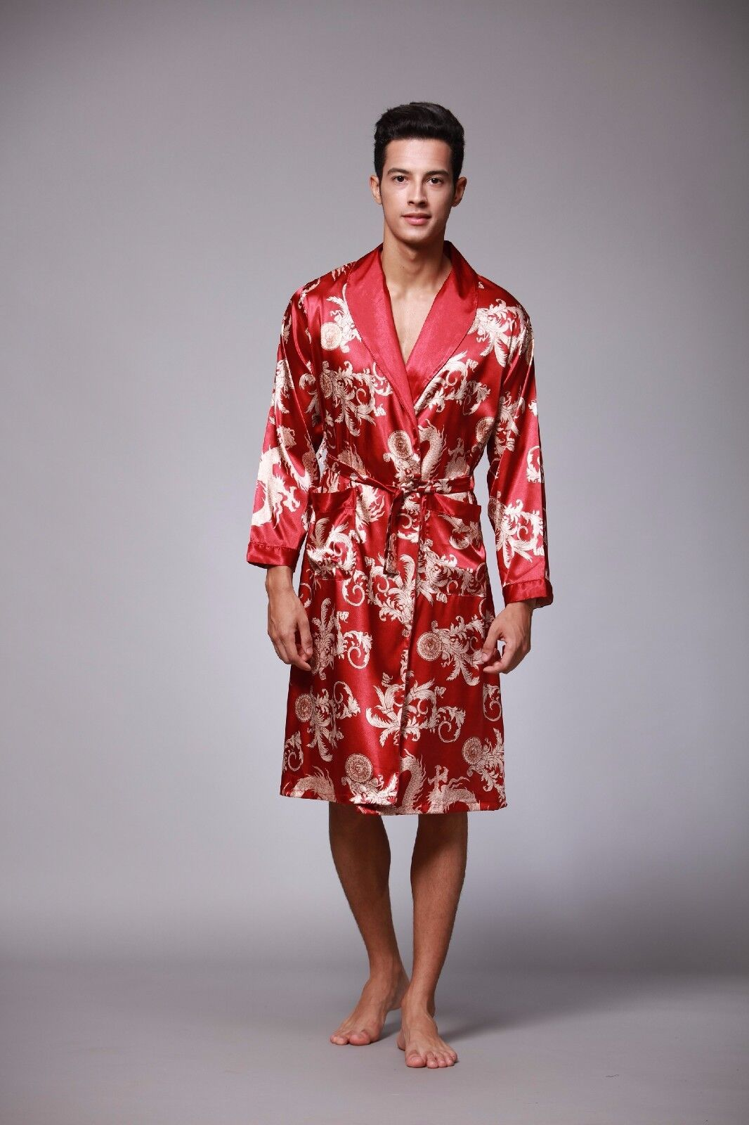 Mens Chinese Japanese Oriental Gold Dragons Red Bathrobe Dressing ...