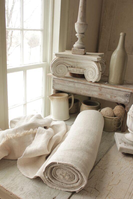 Antique NUBBY Herringbone 14 yards RARE pale HEAVY 23 wide linen homespun 1800