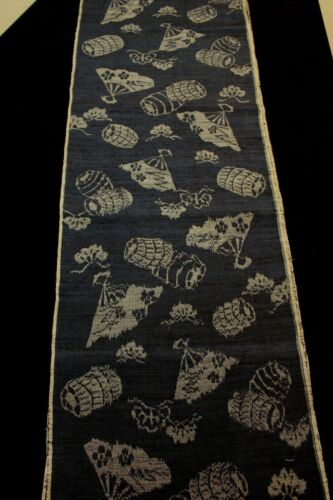 "f-016 antique tsumugi silk kimono fabric - fan - 14-1/2"" x 62"""