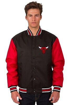 Chicago Bulls NBA Jacket Poly Twill Black Red Embroidered Logos Licensed