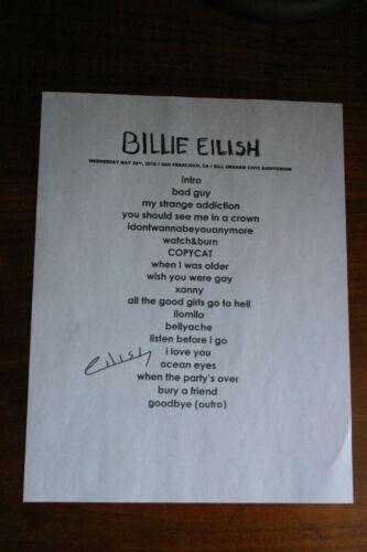 Billie Eilish Setlist with autograph Reprint May 29, 2019