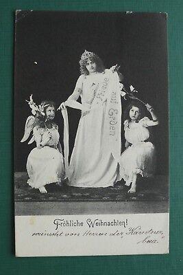AK FR HLICHE WEIHNACHTEN 1903 KINDER FRAU ENGEL FRIEDE AUF ERDEN KLEID CHRISTMAS