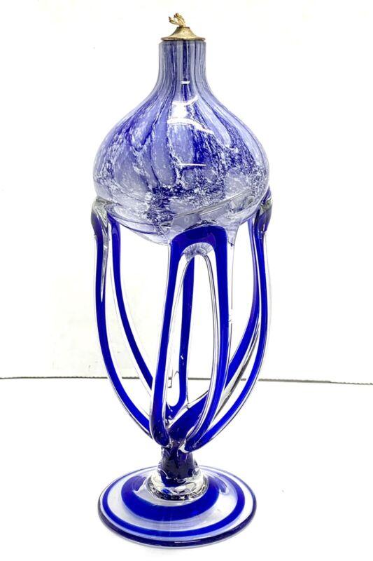 Jozefina Krosno Poland Jellyfish Art Glass Oil Lamp Cobalt Blue Unburned PERFECT