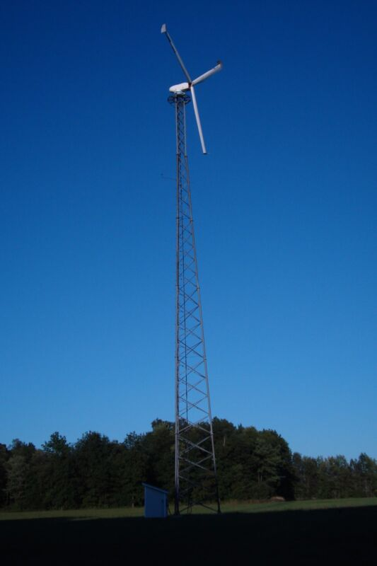 used wind turbine with 120 foot latice tower