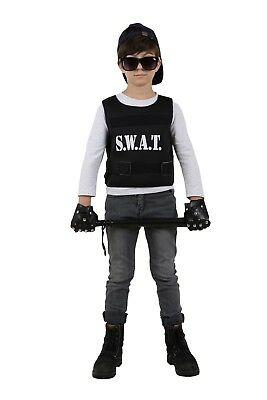 Boys Kids Police Swat Bulletproof Vest Costume Spontoon Cosplay Halloween  - Kid Police Costume