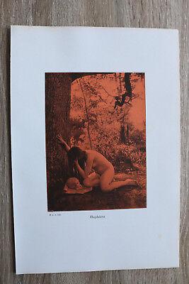 Jugendstil Kunst Blatt 1905 Erotik Frau MAGDALENA Akt Nude Erotic Risque nackt