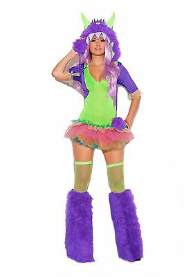 One Eyed Monster Costume Tutu Dress Furry Hood Neon Green Purple Rave Wear 9981 (Neon Tutus)