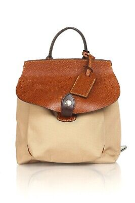 DOONEY AND BOURKE Vintage Sandy Taupe Tan Brown Canvas Leather Backpack (Taupe And Brown)
